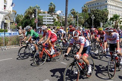 The peloton in the streets of Nice during the 2nd stage of the Tour de France on 30 August 2020
