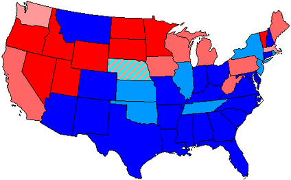 House seats by party holding plurality in state     80+% to 100% Democratic    80+% to 100% Republican     60+% to 80% Democratic    60+% to 80% Republican     Up to 60% Democratic    Up to 60% Republican