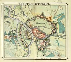 Карта-схема Брестской крепости, ок. 1834 года