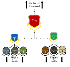Diagram of a typical US Air Force wing organizational structure.