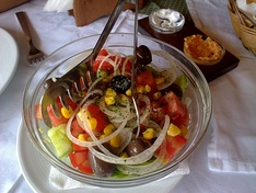 A typical Albanian vegetable salad.