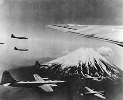 73d Bombardment Wing, 498th Bombardment Group B-29s flying near Mount Fuji, Japan, 1945