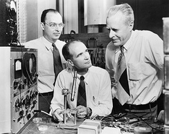 John Bardeen, William Shockley and Walter Brattain at Bell Labs, 1948.
