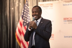 Carson speaking before the Nevada caucuses in February 2016