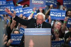 "Democratic presidential candidate Bernie Sanders greatly influenced the party platform adopted at the convention, described by political commentators as the ""most progressive"" in the party's history."