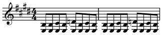 Blues shuffle or boogie played on guitar in E major[1] ( Play (help·info)).