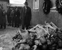 U.S. Senator Alben W. Barkley views the bodies of prisoners at a liberated Buchenwald concentration camp in April 1945.