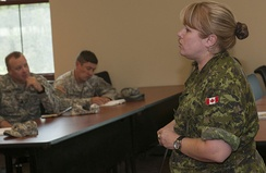 Lt. Col. Pelletier briefs Vermont Army National Guard soldiers on the integration of women in the Canadian Armed Forces