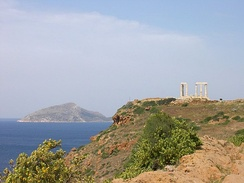 View of Cape Sounio and the ruins of the temple of Poseidon looking west, with Patroklos island visible in the background