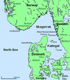 The throat of the Skagerrak, the strategic gateway to the Baltic and North Atlantic, waters off Jutland, Norway and Sweden