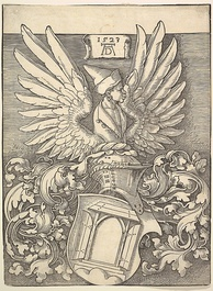Woodcut by Dürer of his coat of arms, which featured a door as a pun on his name, as well as the winged bust of a Moor