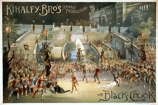 The Black Crook (1866), considered by some historians to be the first musical.[12] Poster for the 1873 revival by The Kiralfy Brothers.