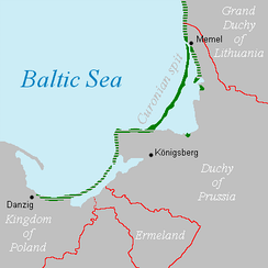 In 1649, Kursenieki settlements along the Baltic coastline of East Prussia spanned from Memel (Klaipėda) to Danzig (Gdańsk).