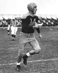 Don Hutson with the Packers; his jersey number was the first retired by the Packers (1951)