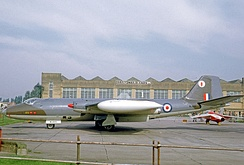 58 Squadron Canberra PR.7 at RAF Finningley in 1969. It wears the Squadron's Owl symbol on its fin tip.