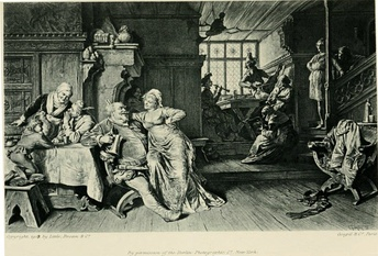 Falstaff with Doll Tearsheet in the Boar's Head tavern, illustration to Act 2, Scene 4 of the play by Eduard von Grützner