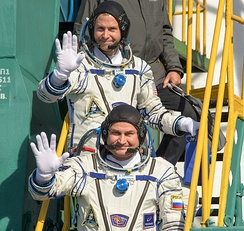 Nick Hague (above) and Aleksey Ovchinin (below), pictured at Pad 1/5.