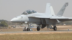 F/A-18F Super Hornet taxis to the runway for takeoff at Aero India 2011