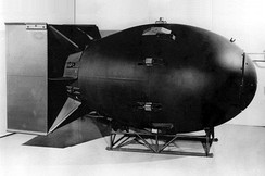 "The first nuclear weapons were gravity bombs, such as this ""Fat Man"" weapon dropped on Nagasaki, Japan. They were large and could only be delivered by heavy bomber aircraft"