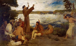 A painting of Father Hennepin 'discovering' Saint Anthony Falls.