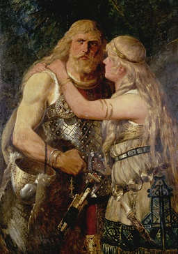 An 1884 interpretation of Arminius and Thusnelda by German illustrator Johannes Gehrts. The artwork depicts Arminius saying farewell to his beloved wife before he goes off into battle.
