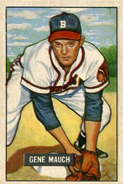A 1951 Bowman Gum card of Mauch