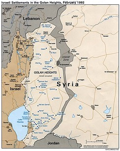 Map of the Golan Heights with Israeli settlements in 1992.