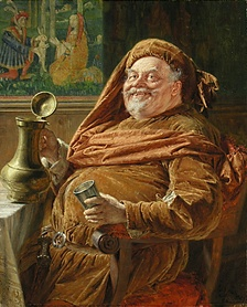 Eduard von Grützner's Falstaff with big wine jar and cup shows the traditional jolly and comical depiction of Falstaff that Welles rejected.