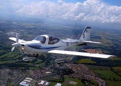 A Grob Tutor T1, belonging to the University of Birmingham Air Squadron, in flight over Scotland