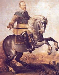 The Lion of the North: King Gustavus Adolphus depicted at the turning point of the Battle of Breitenfeld (1631) against the forces of Johann Tserclaes, Count of Tilly.