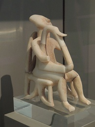 Harp player, example of Cycladic art, at the National Archeological Museum, Athens
