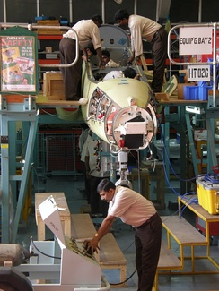 An IAF BAe Hawk being licence-produced at the HAL Hawk production facility in Bangalore