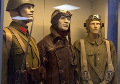 Greek military uniforms from 1941 on display in Athens War Museum