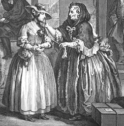 A detail from plate 1 of William Hogarth's (1697–1764) The Harlot's Progress, showing brothel-keeper Elizabeth Needham, on the right, procuring a young woman who has just arrived in London