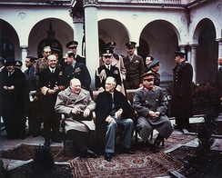 "The ""Big Three"" at the Yalta Conference in Crimea: Winston Churchill, Franklin D. Roosevelt, and Joseph Stalin."