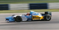 Johnny Herbert winning the 1995 British Grand Prix, driving the Benetton-Renault B195