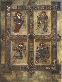 The symbols of the four Evangelists are here depicted in the Book of Kells. The four winged creatures symbolize, clockwise from top left, Matthew, Mark, John, and Luke.