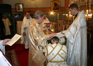 The laying on of hands (Cheirotonia), conferring the holy order of deacon upon an Orthodox subdeacon.