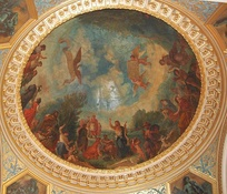 Library ceiling with Dante's Inferno by Delacroix