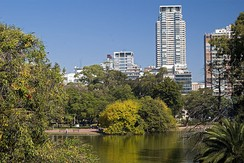 Parque Tres de Febrero, in Buenos Aires, Argentina, has a lake, a rose garden and a planetarium, among other attractions.