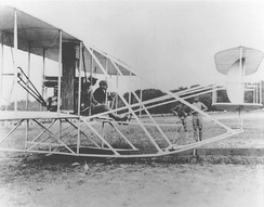 1st Lt. Frank Lahm and Orville Wright in the first U.S. Army airplane, S.C. No. 1, July 27, 1909