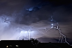 A lightning storm as seen from Henderson, looking toward the Las Vegas Strip