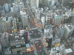 Densely packed buildings in Hamamatsucho, Tokyo.