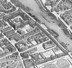 The Tuileries Palace and the Louvre on the 1739 Turgot map of Paris, during the reign of Louis XV
