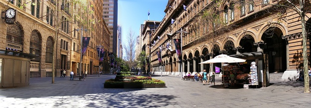Panoramic view of the western end of Martin Place: the General Post Office (No. 1) is on the right, the Bank of Australasia Building (No. 2) and Challis House (No. 4) are on the left.