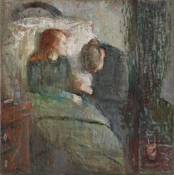 Painting The Sick Child by Edvard Munch, 1885–86, depicts the illness of his sister Sophie, who died of tuberculosis when Edvard was 14; his mother too died of the disease.