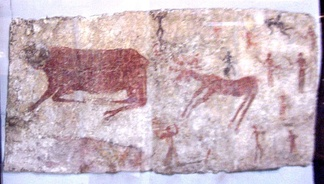 Mural of aurochs, a deer, and humans in Çatalhöyük, which is the largest and best-preserved Neolithic site found to date. It was registered as a UNESCO World Heritage Site in 2012.[19]