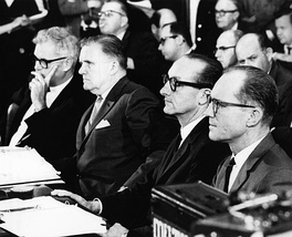 Deputy Administrator Seamans, Administrator Webb, Manned Space Flight Administrator George E. Mueller, and Apollo Program Director Phillips testify before a Senate hearing on the Apollo accident