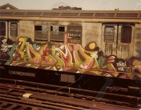 Typical subway car exterior in the late 1970s