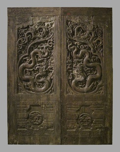 Carved wooden doors from the Phổ Minh pagoda, Nam Định province (13th-14th century)
